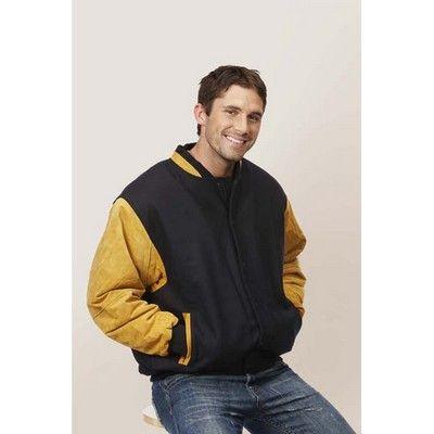 Custom Suede Arm Baseball Jacket Min 25 - 50/50 Wool Viscose, Suede Sleeves, Snap Front Closure, Lining of Quilted Satin, Hidden Pocket, Side Pockets, 400grm Fabric. http://www.promosxchange.com.au/custom-suede-baseball-jacket/p-10844.html