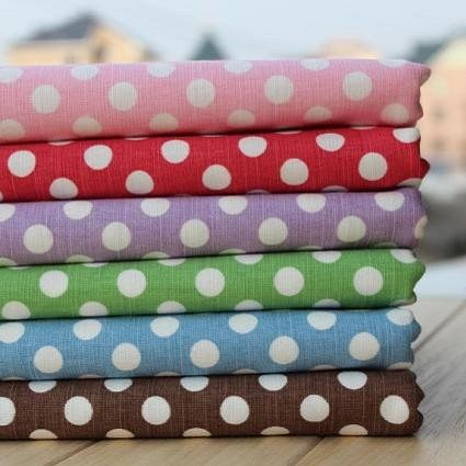 """Aliexpress.com : Buy Free Shipping! 6 color Shabby Chic Big Polka Dot Linen Patchwork Fabric 6pcs   50x75cm/19.7""""x29.5"""" from Reliable linen fabric suppliers on Nana Fabrics $32.86"""