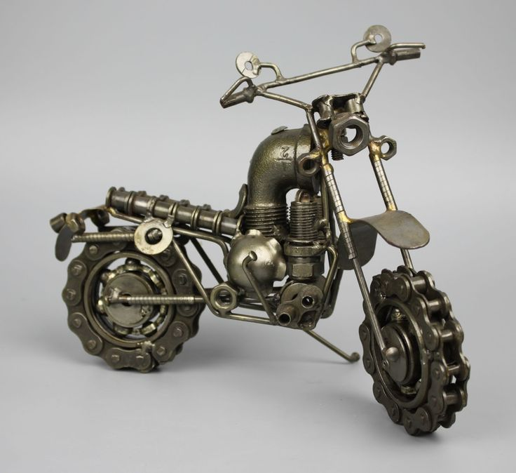 Scrap Metal Sculpture Model Recycled Handmade Art Motorcycle 2