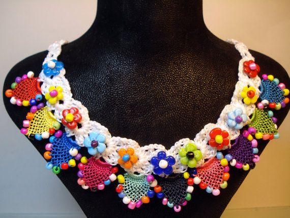 Gift  For Her Colorful Crochet Necklace Spring-Summer by FIGENTAKI
