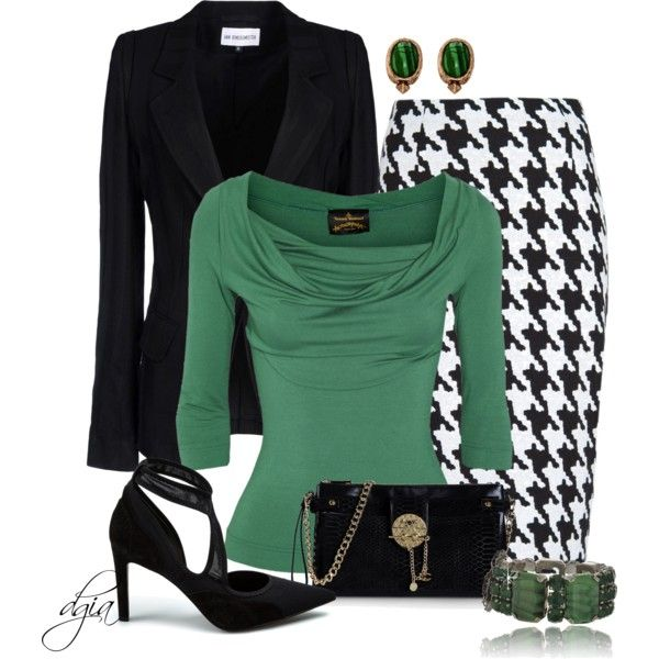 """""""Houndstooth and green"""" by dgia on Polyvore"""
