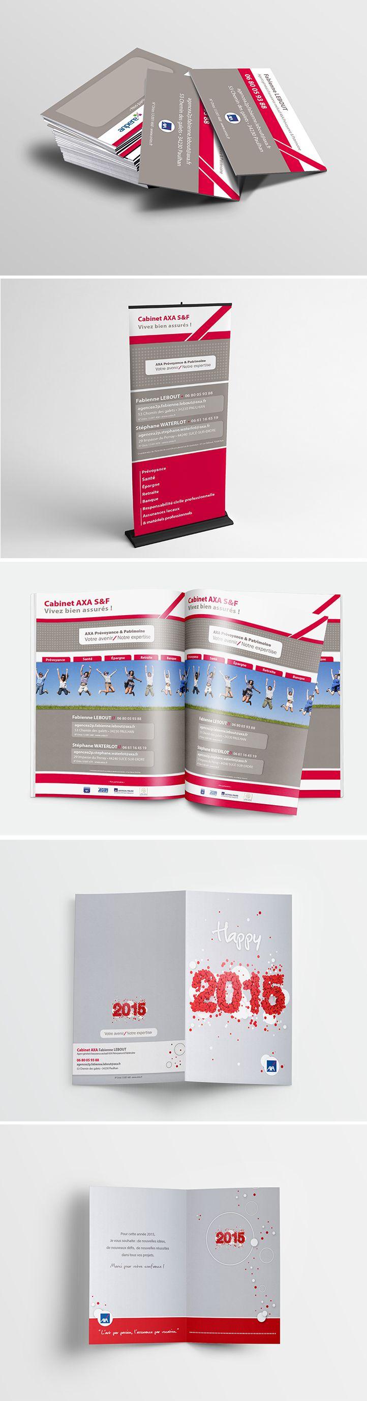 Création graphique et impression de supports de communication pour un Agent A2P AXA • Mis en place de carte de visite • Encart publicitaire • Roll-up • Carte de voeux