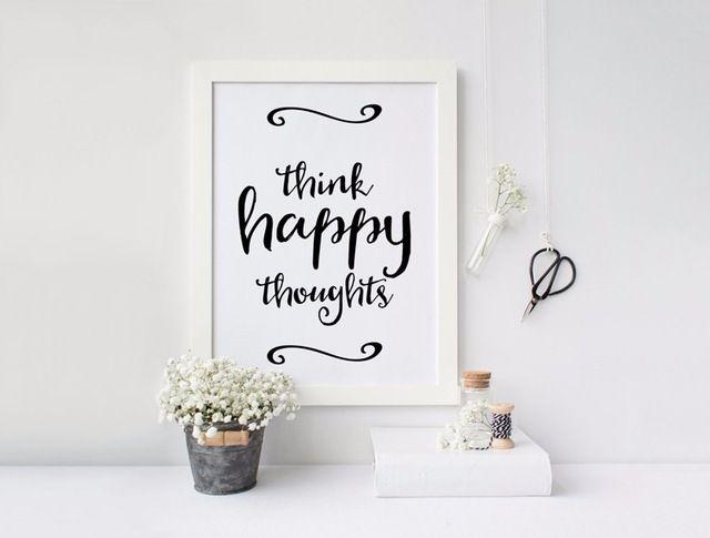 Penser des pensées heureuses, Affiche de motivation, de citation positive peinture par numéros toile art mur photos pour salon, No Frame