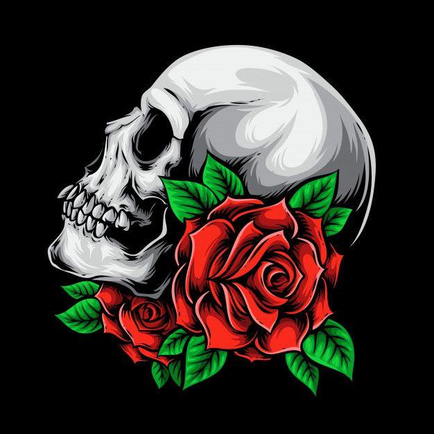 Calavera Con Rosas En 2020 Calaveras Y Rosas Calaveras Dibujos