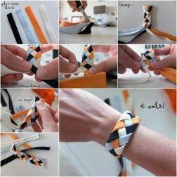 How to DIY 4 Strand Braided Ribbon Bracelet