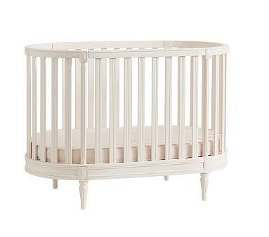 Blythe Oval Crib, Vintage Simply White, Exel