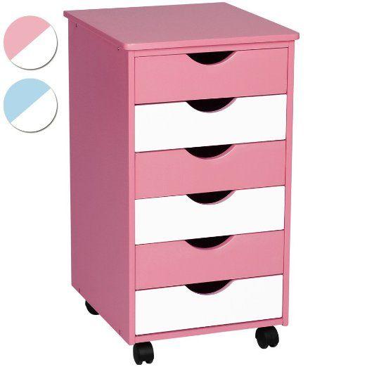Miadomodo KCTN01 Cassettiera comò in legno blu/bianco o rosa/bianco (rosa/bianco) EURO 42,95