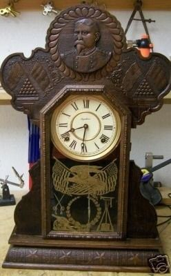 This is a fantastic find and rarely seen clock. In 1899 the Ingraham Clock Company created a series of clocks called commeratives. This is one of the hardest to find of the series. It is the Lee and t