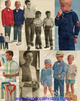 Stripes and sailor style fashion were popular for boys in 1962, especially during the springtime. Blazers and slacks with bow ties were perfect for formal occasions, while cuffed jeans were great for casual wear and playtime. Nautical stripes, sailor suits and ship flag signal shirts were popular as well.