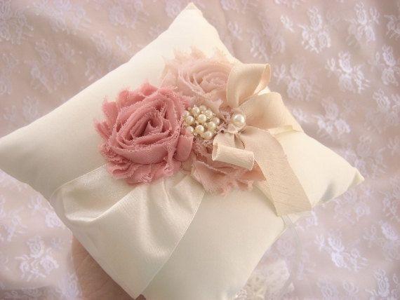 Champagne Ring Bearer Pillow   Blush Pink Rose by nanarosedesigns