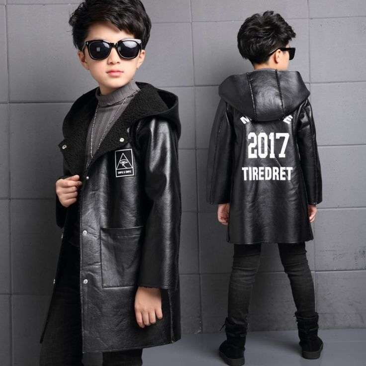 2017Autumn Winter PU Leather Jacket For Boys Windbreaker Boys Jacket Kids Raincoat Lambswool Trench Coat Children Outerwear 5-14 #Affiliate