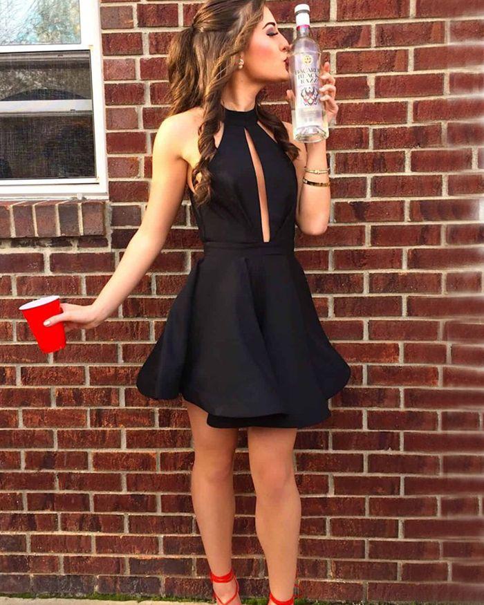 1e048c8fec7f high neck black cutout satin homecoming dresses, black short prom dress
