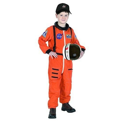 "Space Shuttle Launch & Entry Astronaut Costume - Child  This great shuttle launch replica suit for kids is the perfect astronaut costume! Lots of zipper pockets and patches, including one that says ""Commander."" It comes with a bonus NASA hat and is machine washable.    Space Shuttle Launch and Entry Astronaut Costume - Child"