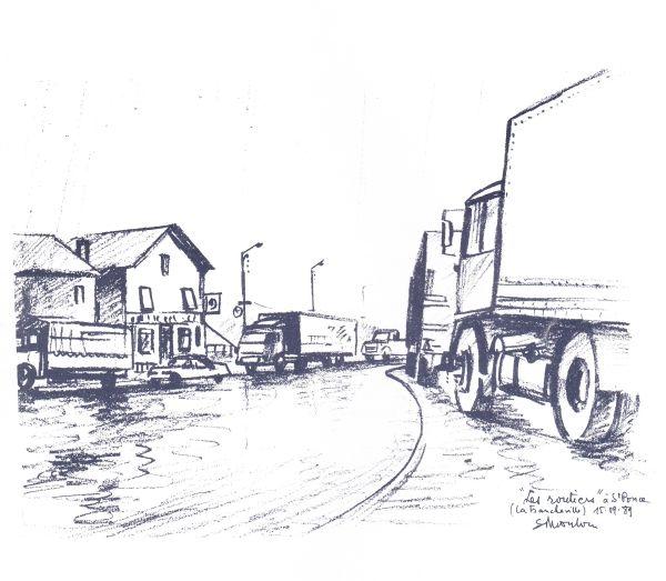 Simon COCU, Artiste Peintre/Dessinateur Ardennais. **Les routiers à St Ponce (La Francheville)**