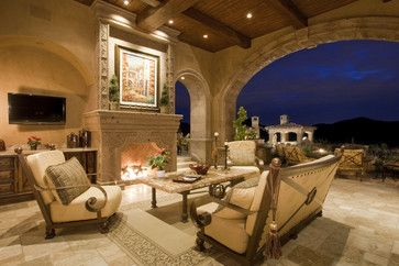 Fireplace in Multi-Million Dollar Home Designed by Fratantoni Luxury Estates - mediterranean - exterior - phoenix - Fratantoni Luxury Estates