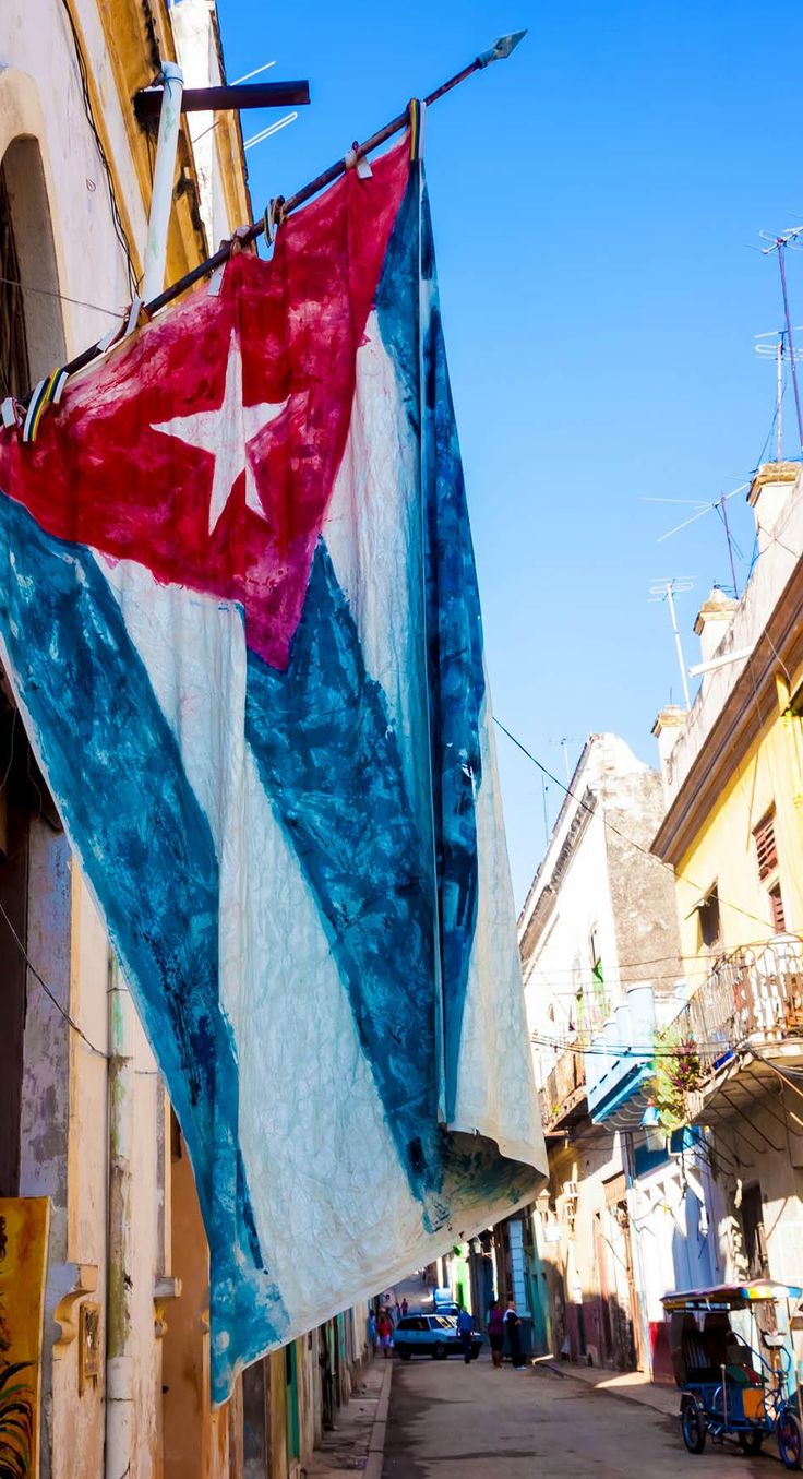 Big Cuba Flag in Havana city, Cuba