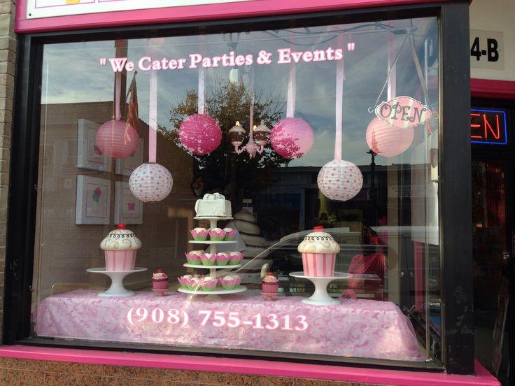Pink Ribbon Window Display  10/2013 #livaysweetshop #cupcakes