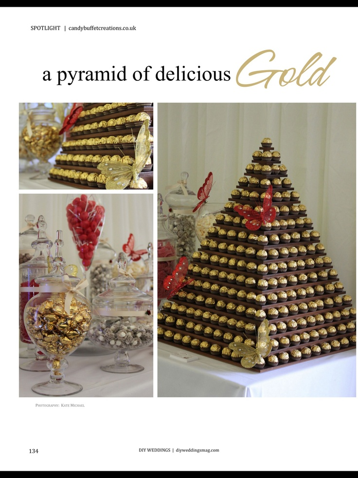 Gold chocolate pyramid. I would do this with chocolates, Styrofoam and toothpicks