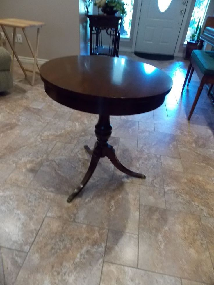 Details About Antique Mersman 3 Leg Round Pedestal Table