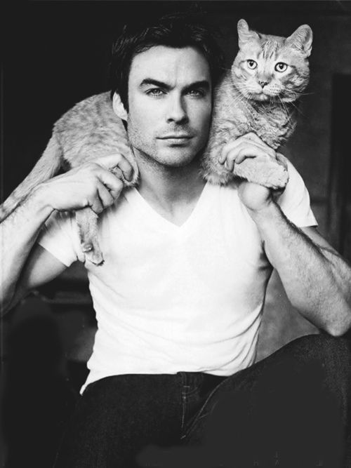 Ian Somerhalder. This must be one of the photos he shot recently for a magazine. He was talking about posing with his cat for this photoshoot on Instagram not too long ago.