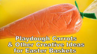 playdough carrots: Creative Ideas, Fun Gift, Playdough Carrots, Easter Gift, Easter Baskets, Easter Ideas