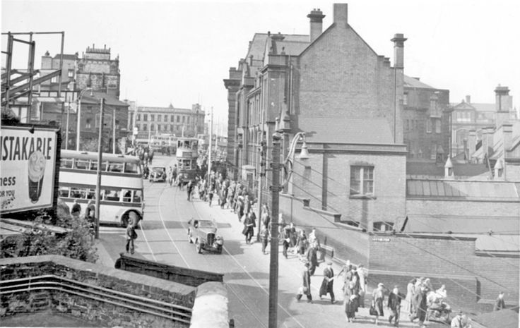 Flat Street from Pond Street, looking towards General Post Office and Fitzalan Square, Pond Hill, right