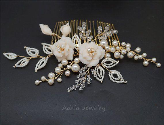 Gold Wedding headpiece Bridal hair comb, Pearl hair comb Flower Leaf headpiece Bridal hair clip Wedding Hair Piece Braut haarkamm T1601201