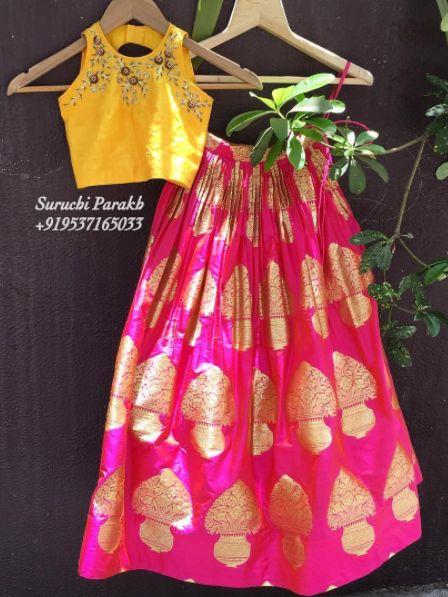 Crop top with banarasi skirt by Suruchi Parakh