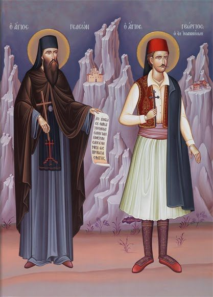St. Gideon the New Righteous Martyr of Karakallou, and St. George the New Martyr of Ioannina was one of the last victims of the forced recruitment of Christian boys by the Ottomans (they were known as Janissaries). This happened when he was 12 years old. Nevertheless, he was able to preserve his Christian faith untainted; a faith for which he was martyred...St. Gideon(left)  On Holy Thursday he presented himself before Ali, who had him made a Muslim, and confessed, Christ & was later…