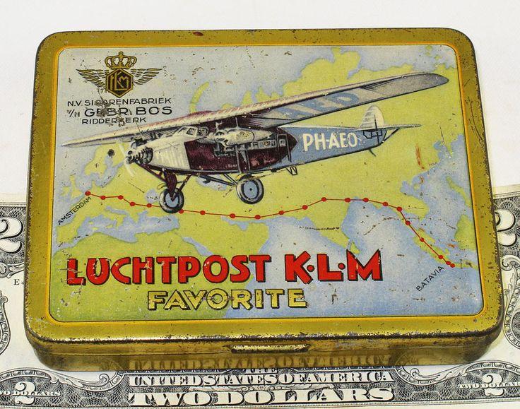 LUCHTPOST KLM FAVORITE RARE DUTCH CIGARETTE TIN  c1927  PH-AEO  TOBACCO  # 3 #LuchtpostKLMFavorite