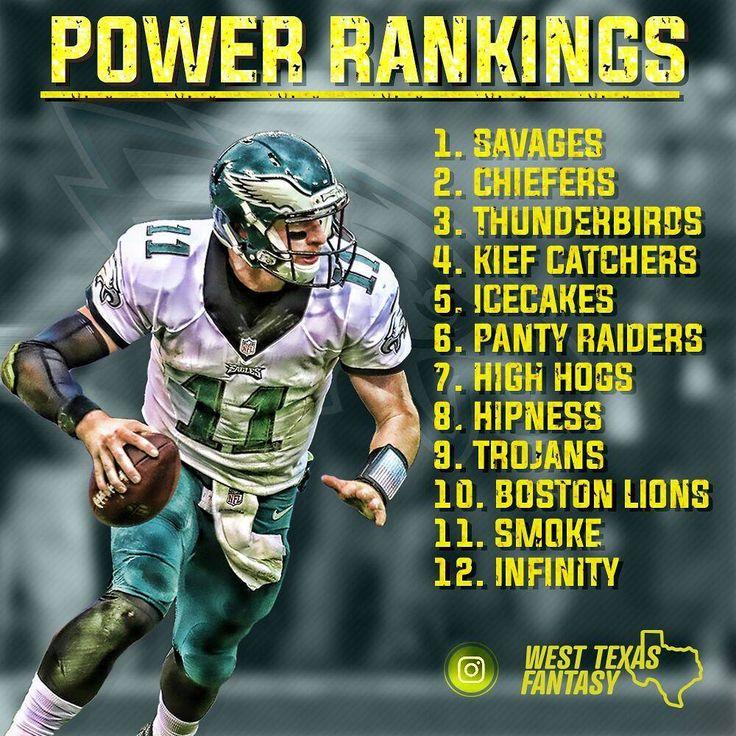 Week 8 Power Rankings . .  #nfl #fantasyfootball #westtexasfantasy #carsonwentz #espn #football #philadelphiaeagles #tombrady #dallascowboys #newenglandpatriots