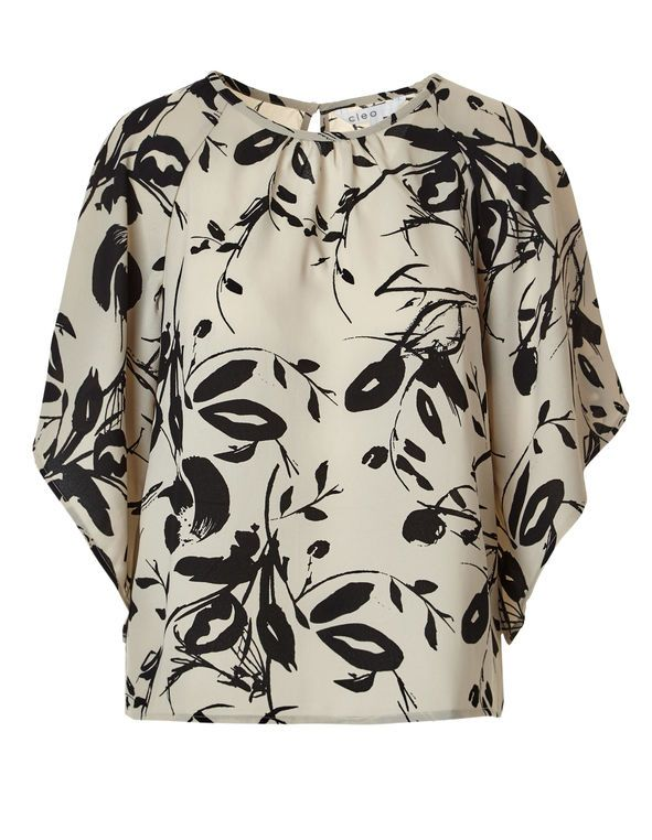 Neutral Kimono Sleeve Blouse, Neutral/Black