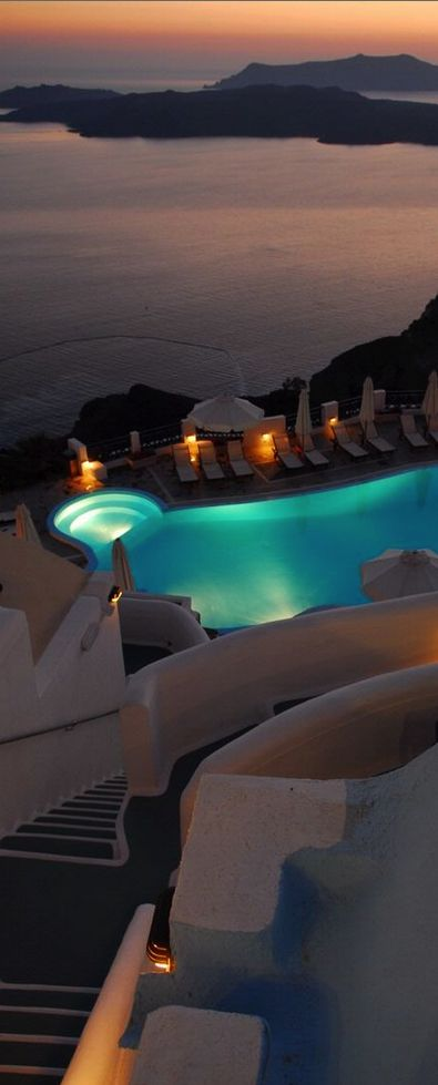 Sunset Pool in Santorini, Greece