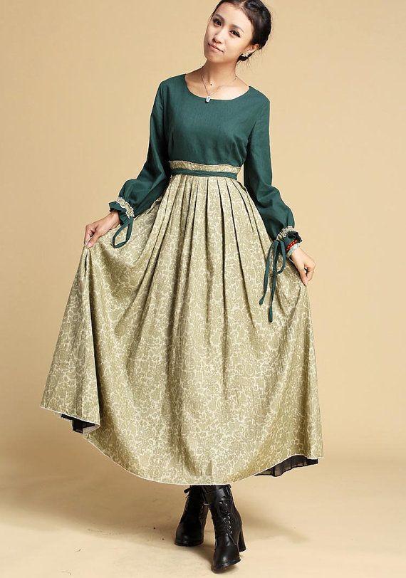 Linen dress floral print dress maxi dress S Sale 320 by xiaolizi, $79.99