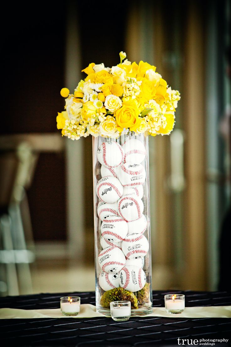 Creative Affairs Inc ~ Creative, baseball theme centerpiece ~ The Ultimate Skybox http://www.creativeaffairsinc.com