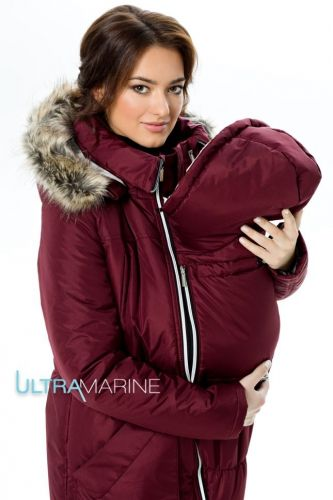 Ультрасовременная теплая зимняя парка-Аляска 3 в 1. Парка подходит и беременной, и обыкновенной, и слингомамочке! КОМФОРТНАЯ НОСКА от 0 градусов и ниже Зимняя Парка-Аляска, Бордо Ultramarine | 149-Верхняя одежда | 16-Одежда для беременных | AnitaMama