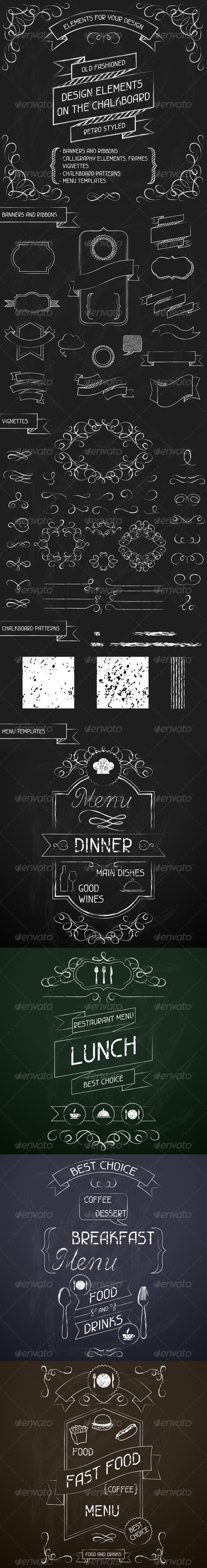 Design Elements on the Chalkboard - Decorative Symbols Decorative