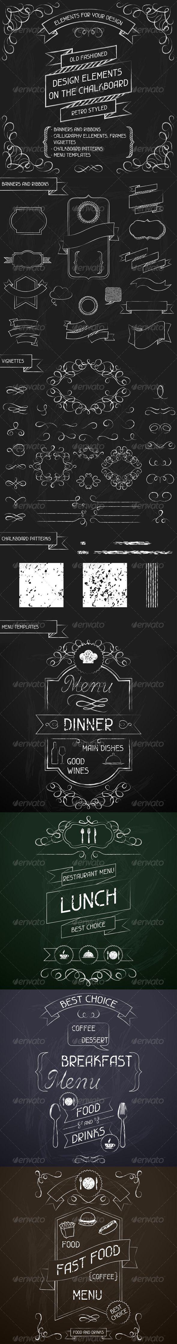 Design Elements on the Chalkboard - Decorative Symbols Decorative: