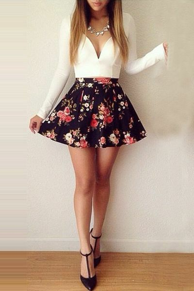 Date night outfit with t-strap heels and floral skater skirt