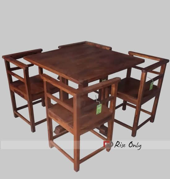 Compact Sheesham Wooden Dining Set with 4 chairs. http//www.riseonly