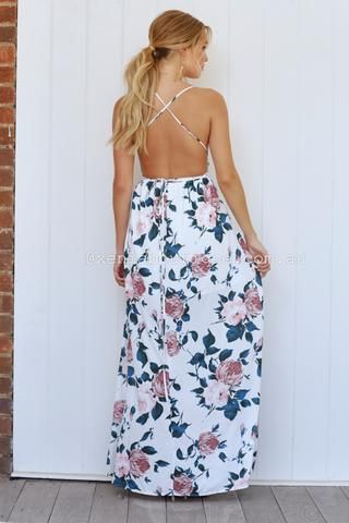 Floral Fantasy Maxi Dress (White/Green Floral)▶ ▷ ▶ Shop It Now ❤ Xenia Boutique xx