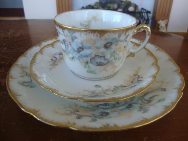 FINE ANTIQUE FRENCH LIMOGES PORCELAIN HAND PAINTED CUP, SAUCER & PLATE. #4 #TeaSet