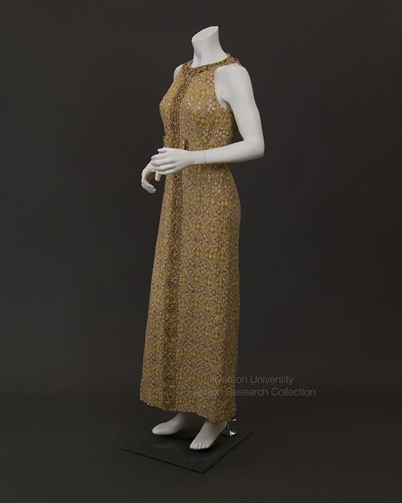 Ruth Dukas Evening Gown, brocade with banded beaded collar and trim. Lined in yellow silk, c.1963. FRC2013.02.01,