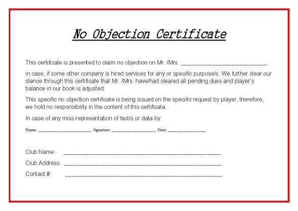 Hockey No Objection Certificate