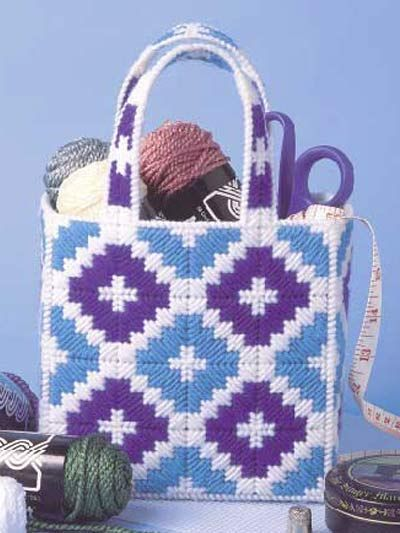 """This quick-to-stitch tote is both durable and attractive. Size: 3 1/2"""" x 7"""" x 11"""" tall [8.9 cm x 17.8 cm x 27.9 cm]."""