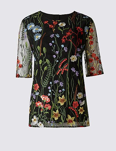 Floral Embroidered Half Sleeve Shell Top | M&S