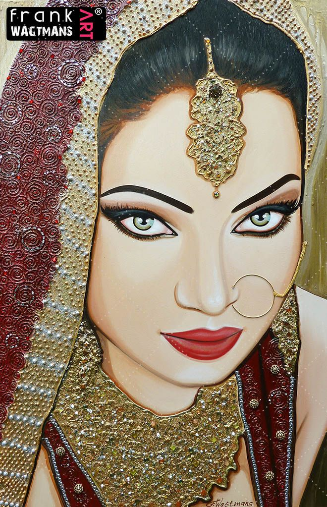 """Indian bride painting 'Deepest Inner' (59.1"""" x 39.4""""). Original hand made portrait. Fabulous & the most unique mixed-media work of art by Frank Wagtmans!"""