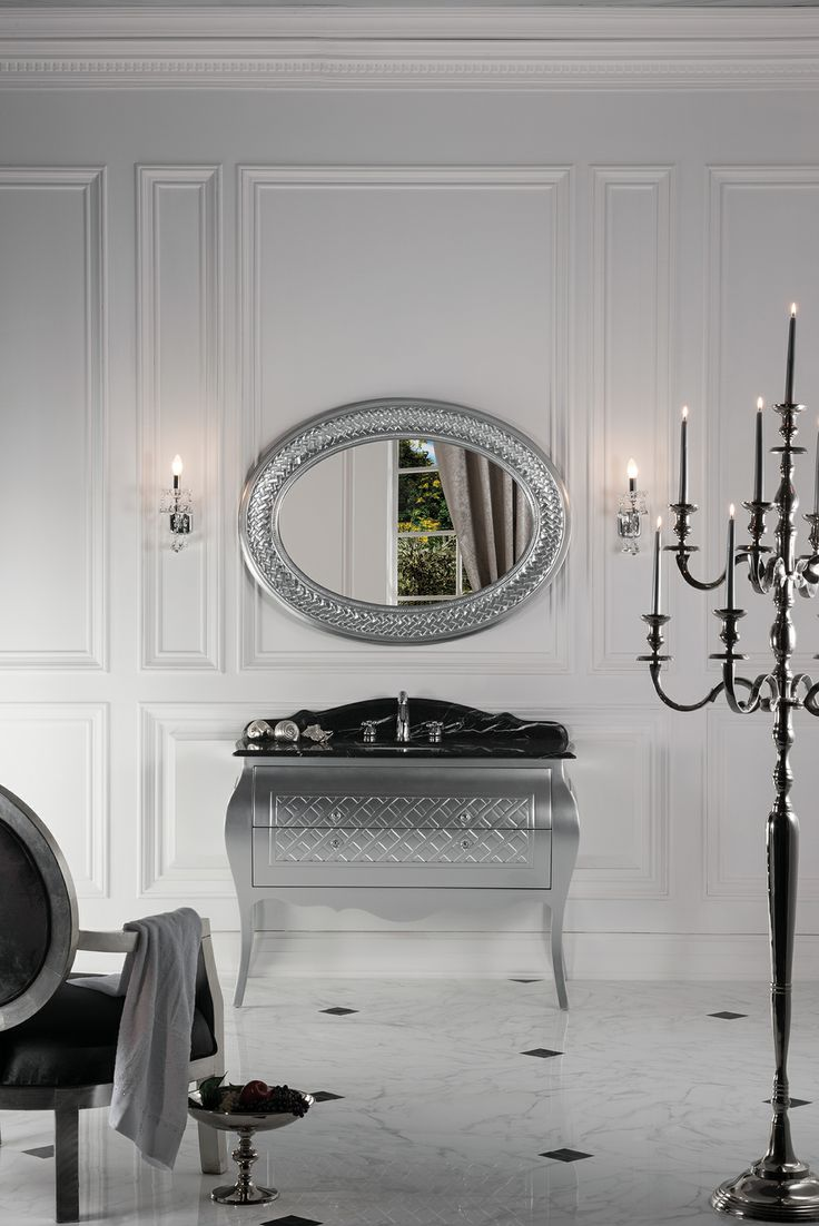 Topex Armadi Art Allegro glossy silver bath vanity from our Classic Collection!