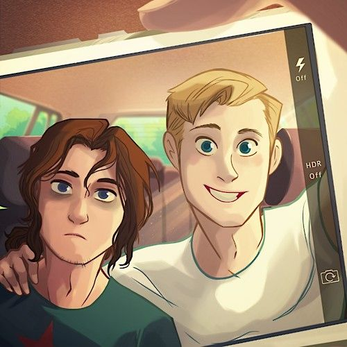 ;) | Bucky doesn't really get selfies yet. Or smiling. But Steve told him to hold still and look at the blinking light, so ...