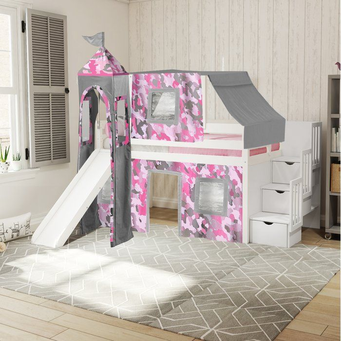 Johannes Castle Twin Low Loft Bed With 3 Drawers Slide And Tent